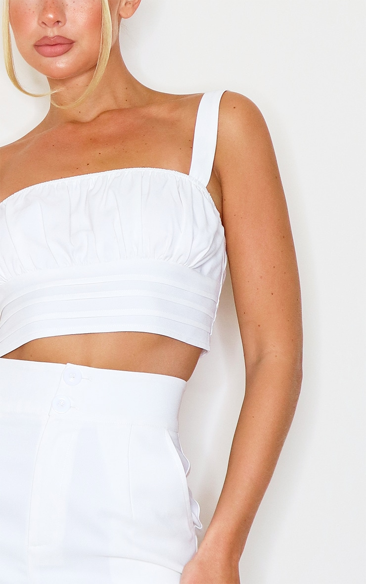 White Ruched Bust Detail Longline Crop Top 4