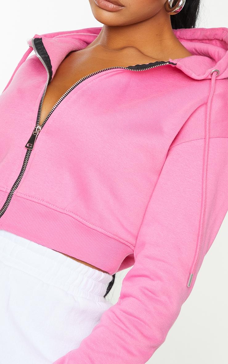 Hot Pink Crop Zip Hoodie 4