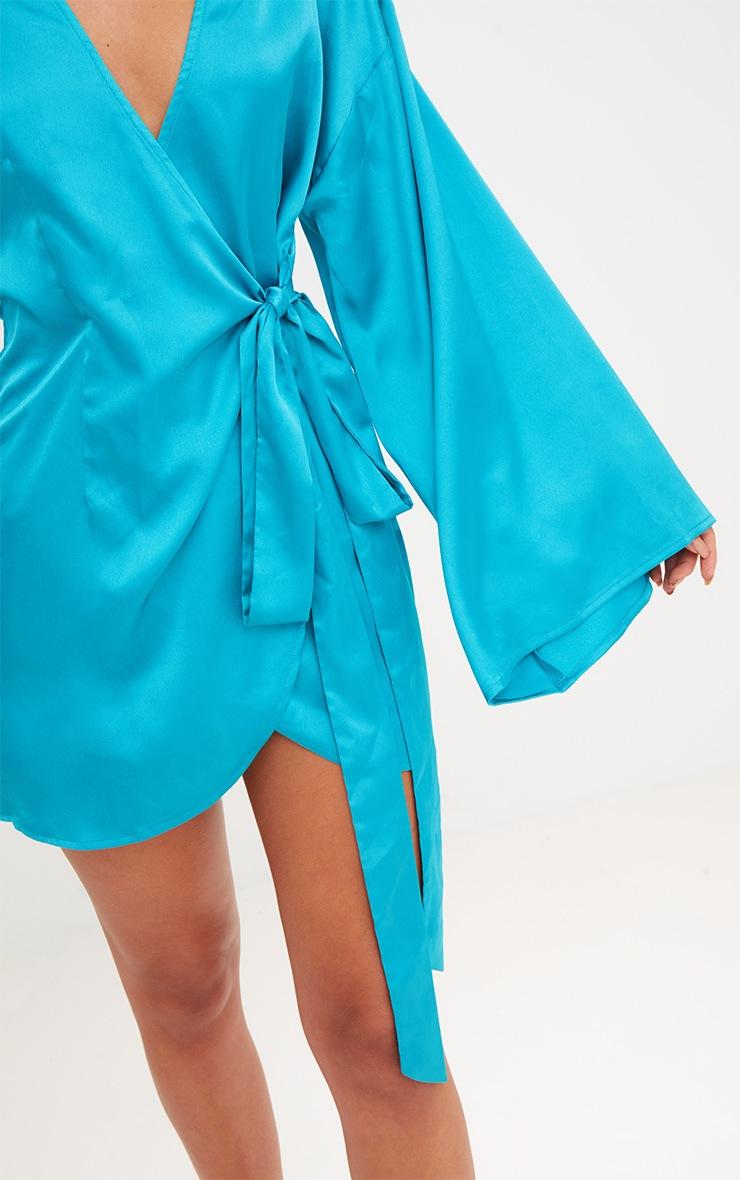 Teal Wrap Long Kimono Sleeve Dress  4
