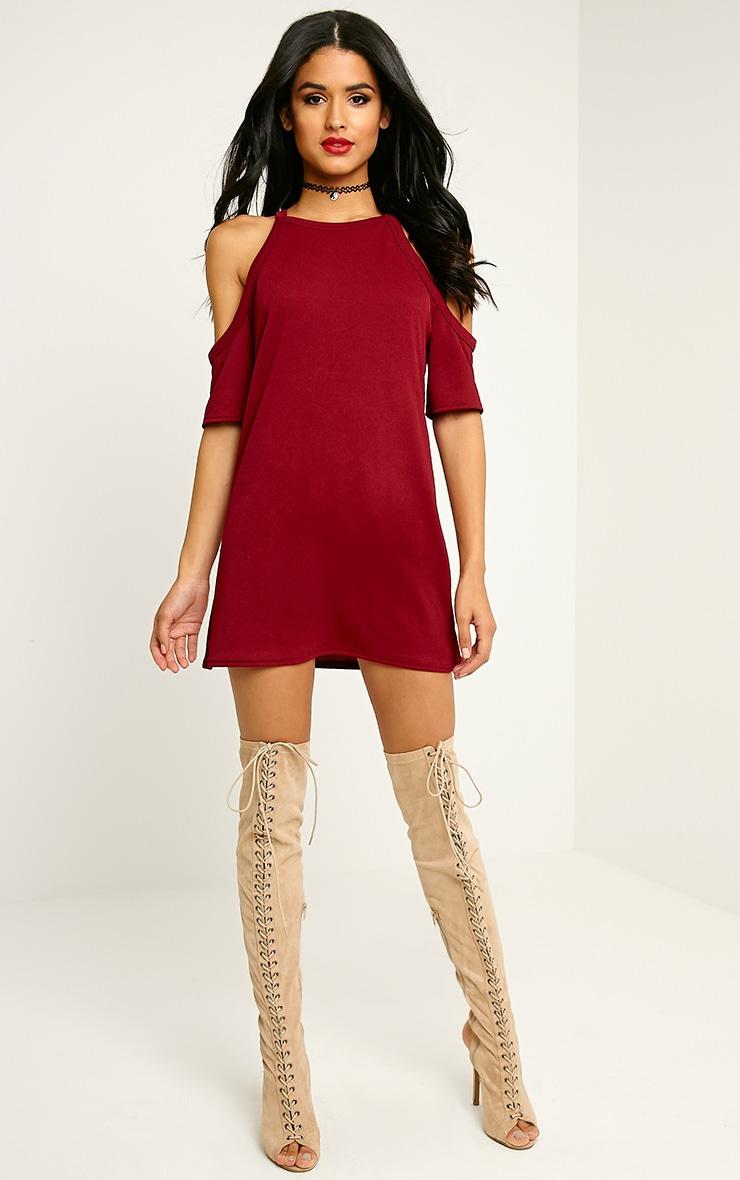 Nola Burgundy Cut Out Shoulder Dress 2
