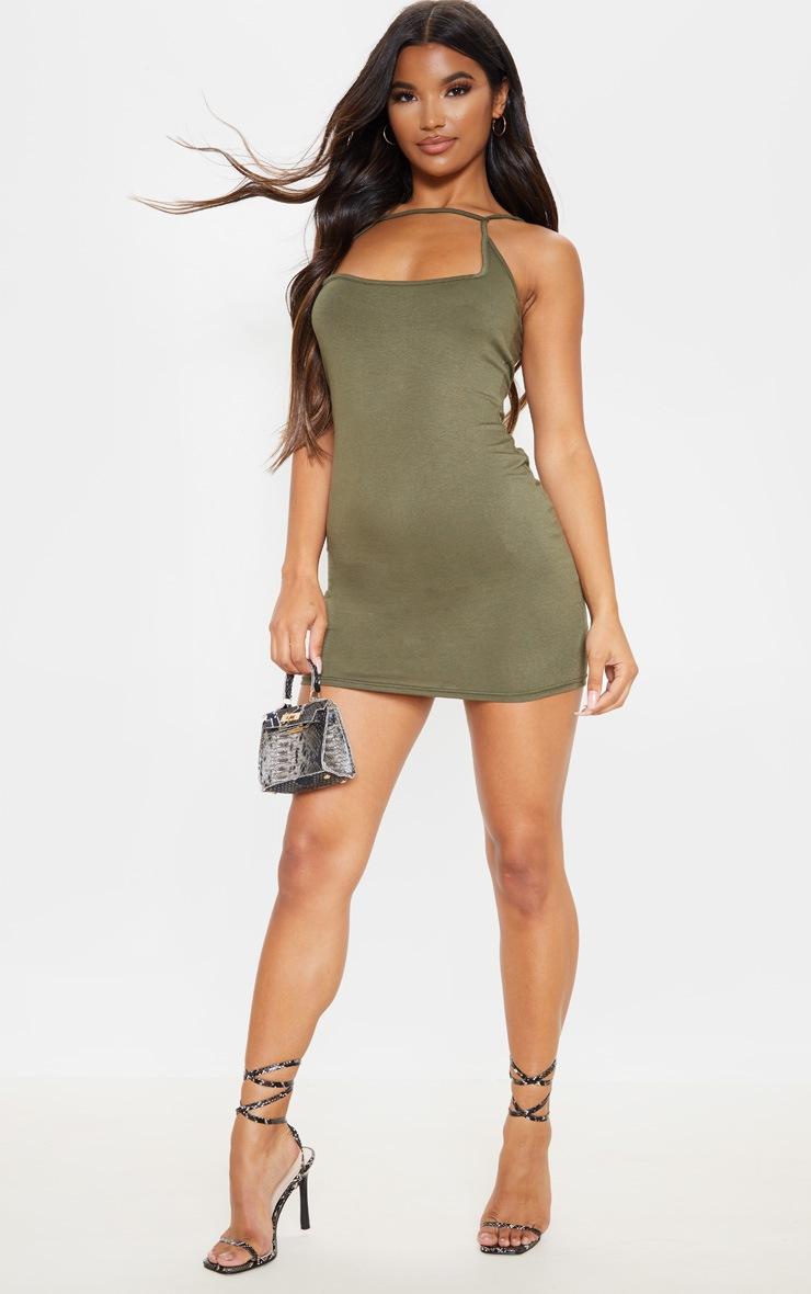 Olive Khaki Strappy Front Detail Bodycon Dress 4