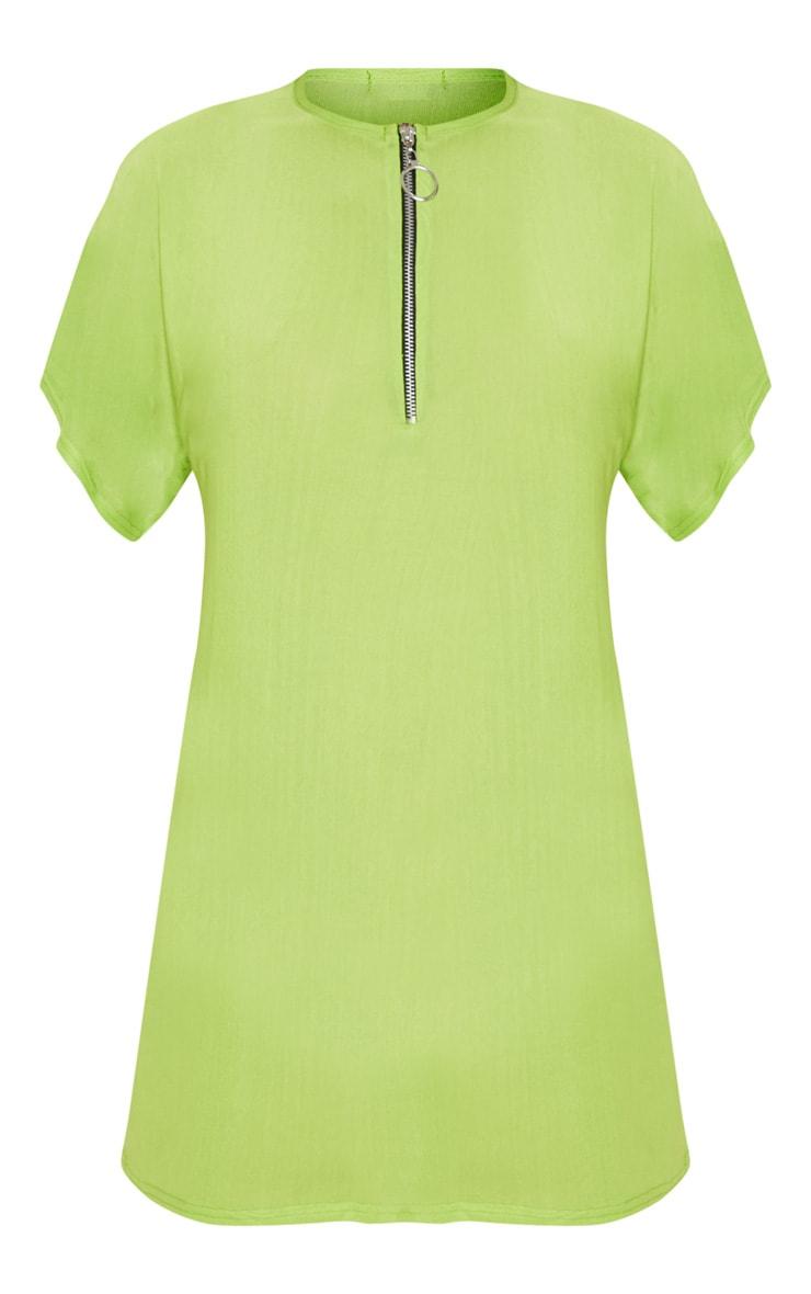 Lime Mesh Zip Front T Shirt Dress 3