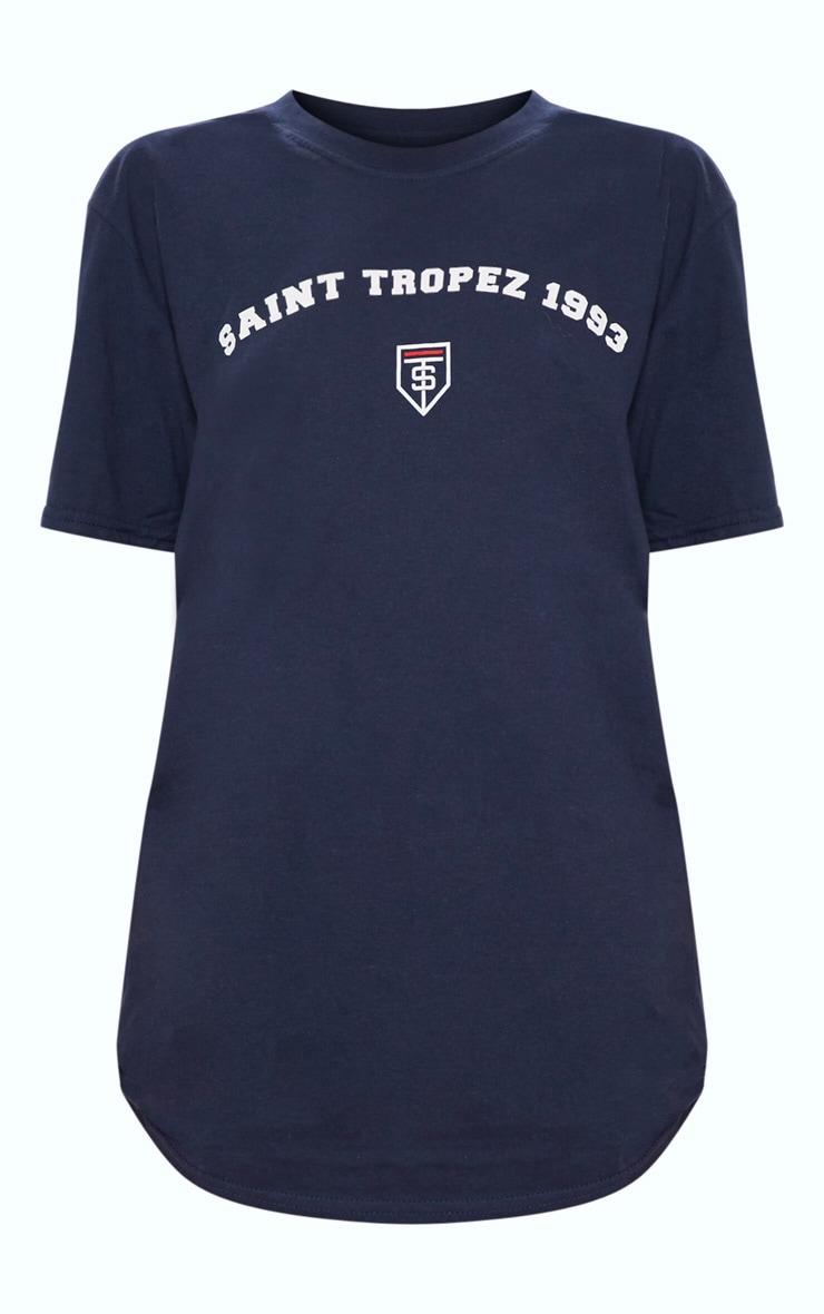 Navy Saint Tropez Print Oversized T shirt 3
