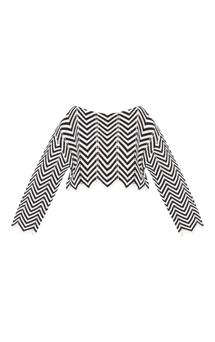 Plus Monochrome Zig Zag Crochet Jumper 3