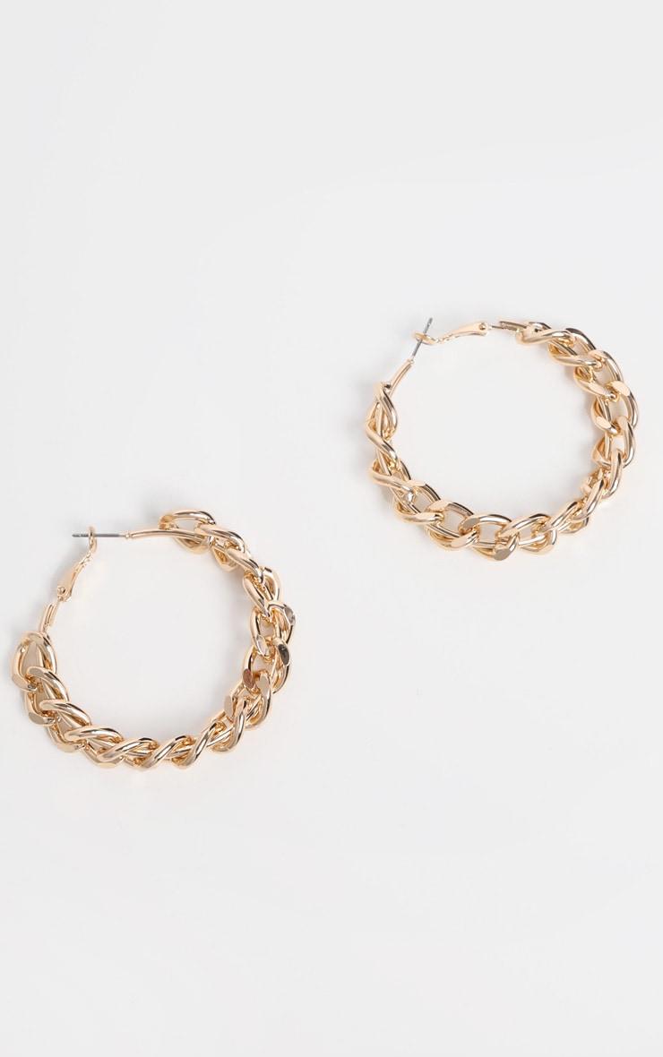 Gold Chunky Chain Hoop Earrings 2