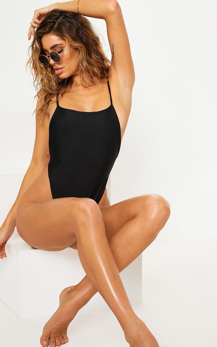Black Minimal Thong Swimsuit 1