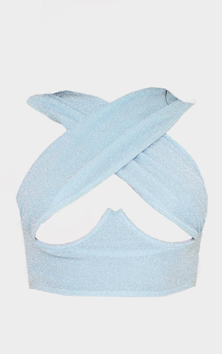 Baby Blue Glitter Underwired Cross Front Bikini Top 5