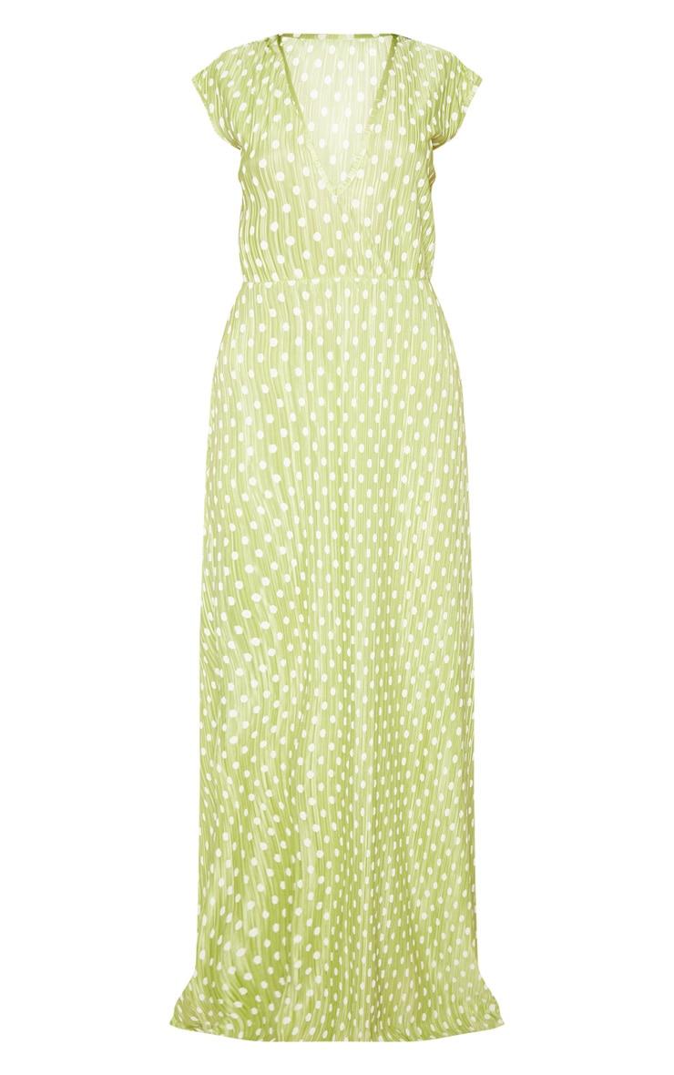 Lime Polka Dot Plisse Plunge Maxi Dress 3