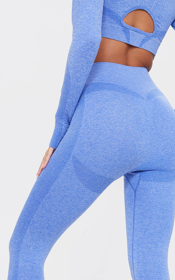 PRETTYLITTLETHING Blue Sport Marl Contour Cut Out Seamless Leggings 4