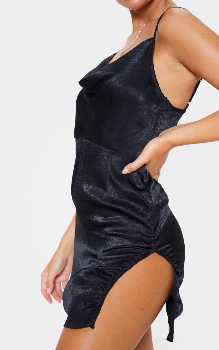 Black Hammered Satin Cowl Ruched Split Bodycon Dress 5
