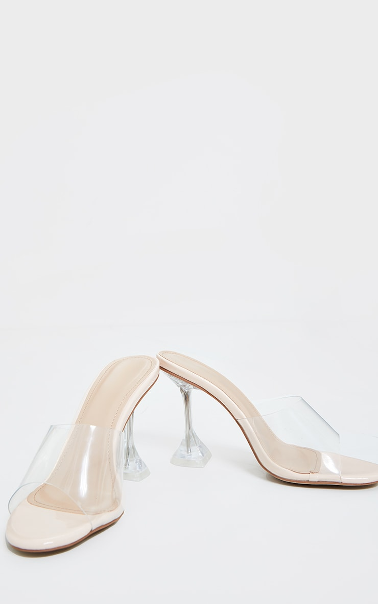 Clear Wide Fit Cake Stand Mule Heels 2