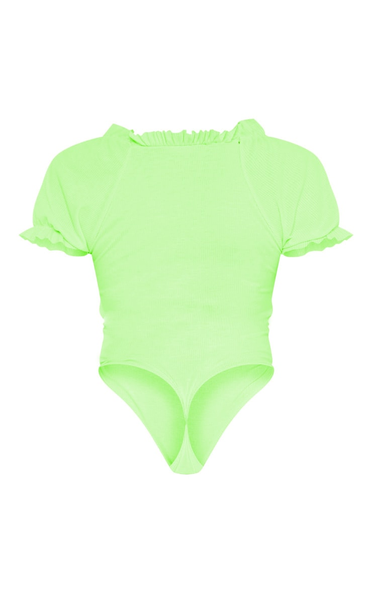 Shape Neon Lime Ribbed Puff Sleeve Bodysuit  4
