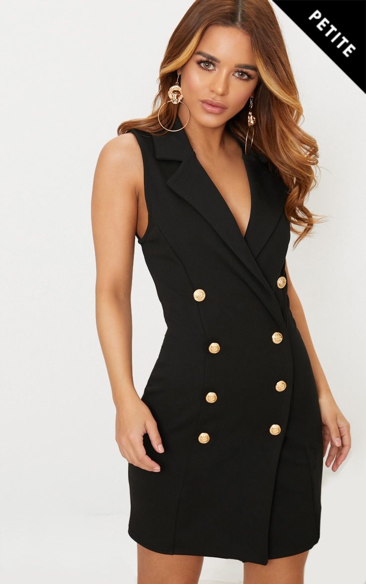 Petite Black Button Detail Sleeveless Blazer Dress 1