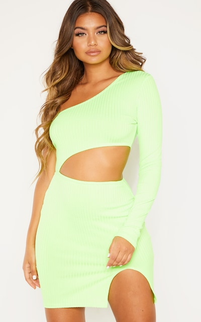 fd63dfbfe8 Neon Lime Ribbed Waist Cut Out One Shoulder Bodycon Dress