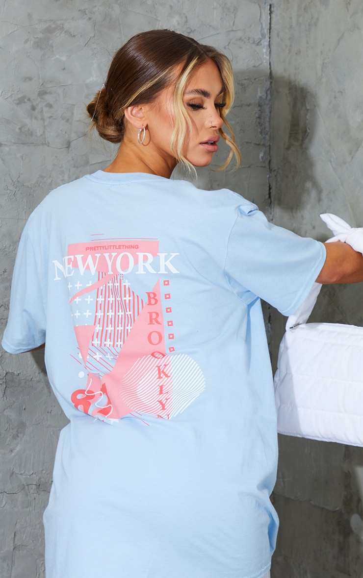 PRETTYLITTLETHING Baby Blue New York Printed T Shirt 4