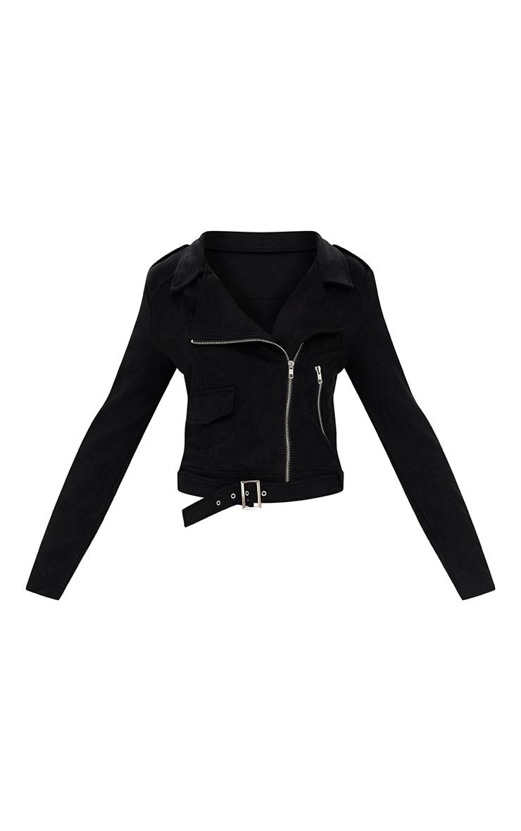 Nikki Faux Suede Black Biker Jacket 3