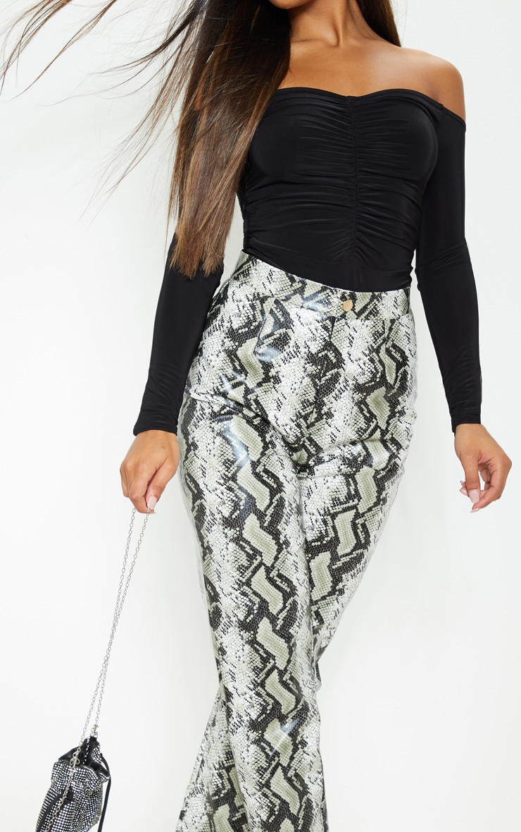 Mella Black Bardot Ruched Slinky Thong Bodysuit 6