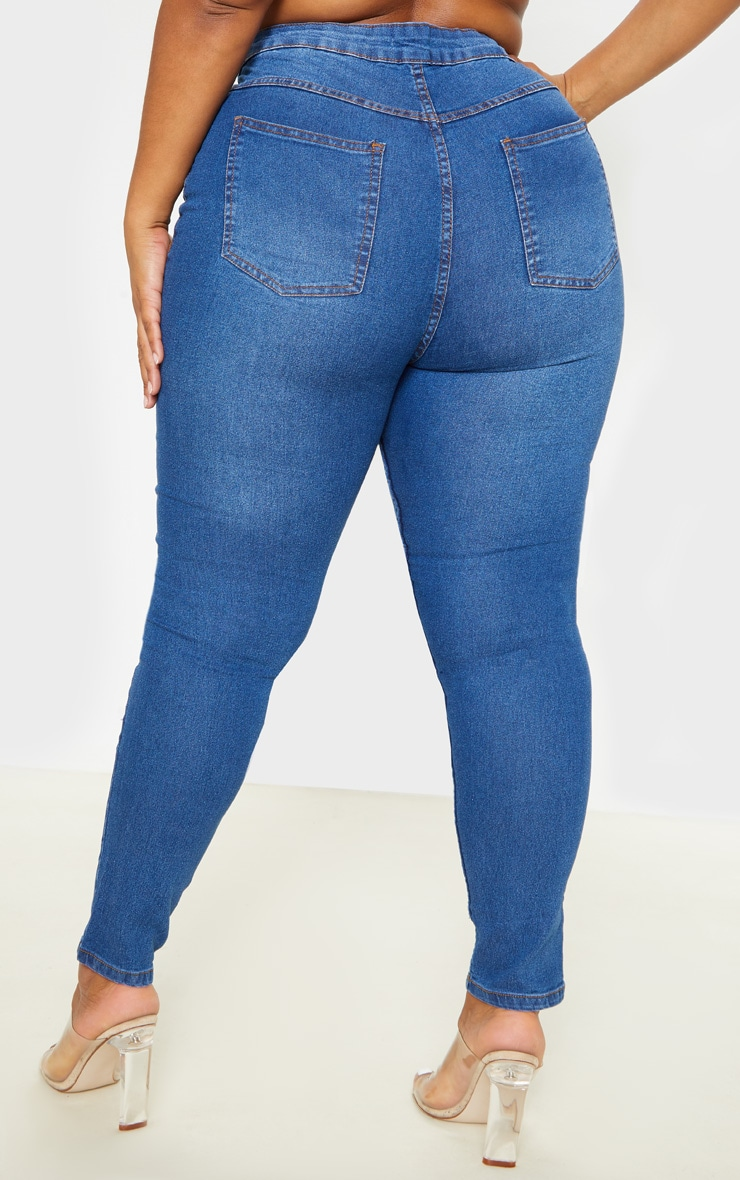 Plus Mid Wash High Waisted Super Stretch Skinny Jean 4