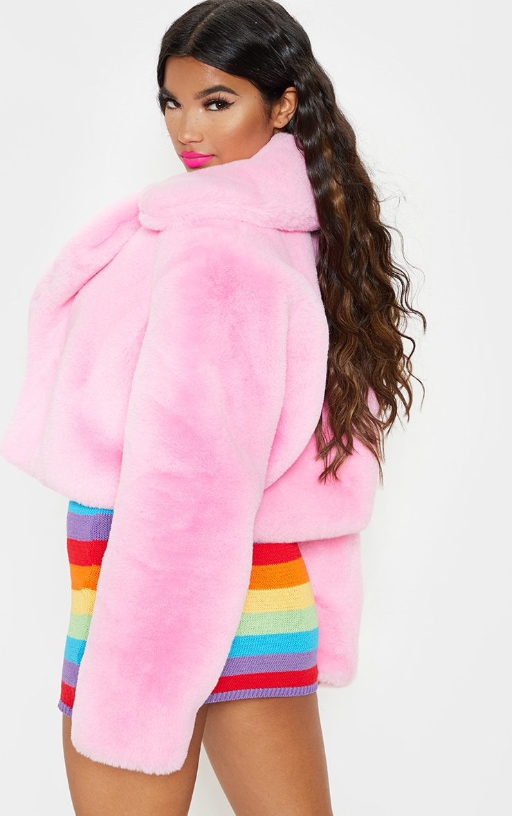 Pink Faux Fur Cropped Jacket  2