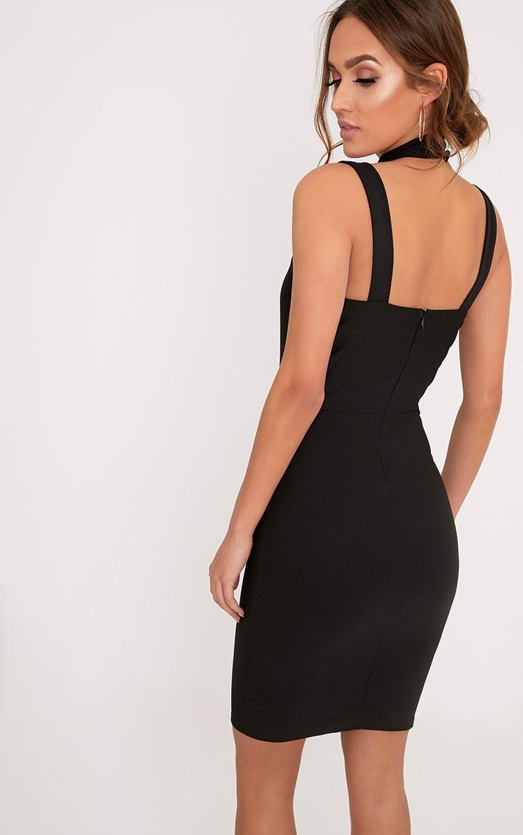 Alsah Black Strap Detail Bodycon Dress 2
