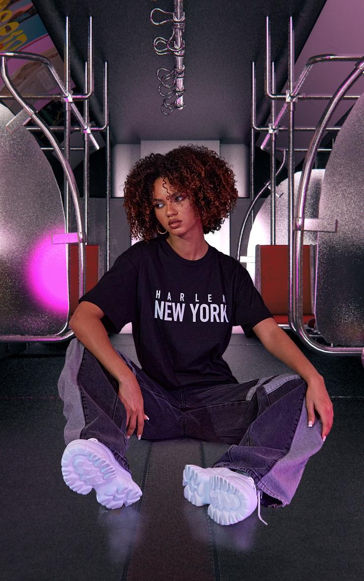 T-shirt unisexe oversize noir imprimé Harlem 2