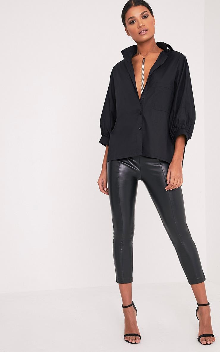 Ariane chemise noire manches chauve-souris 5