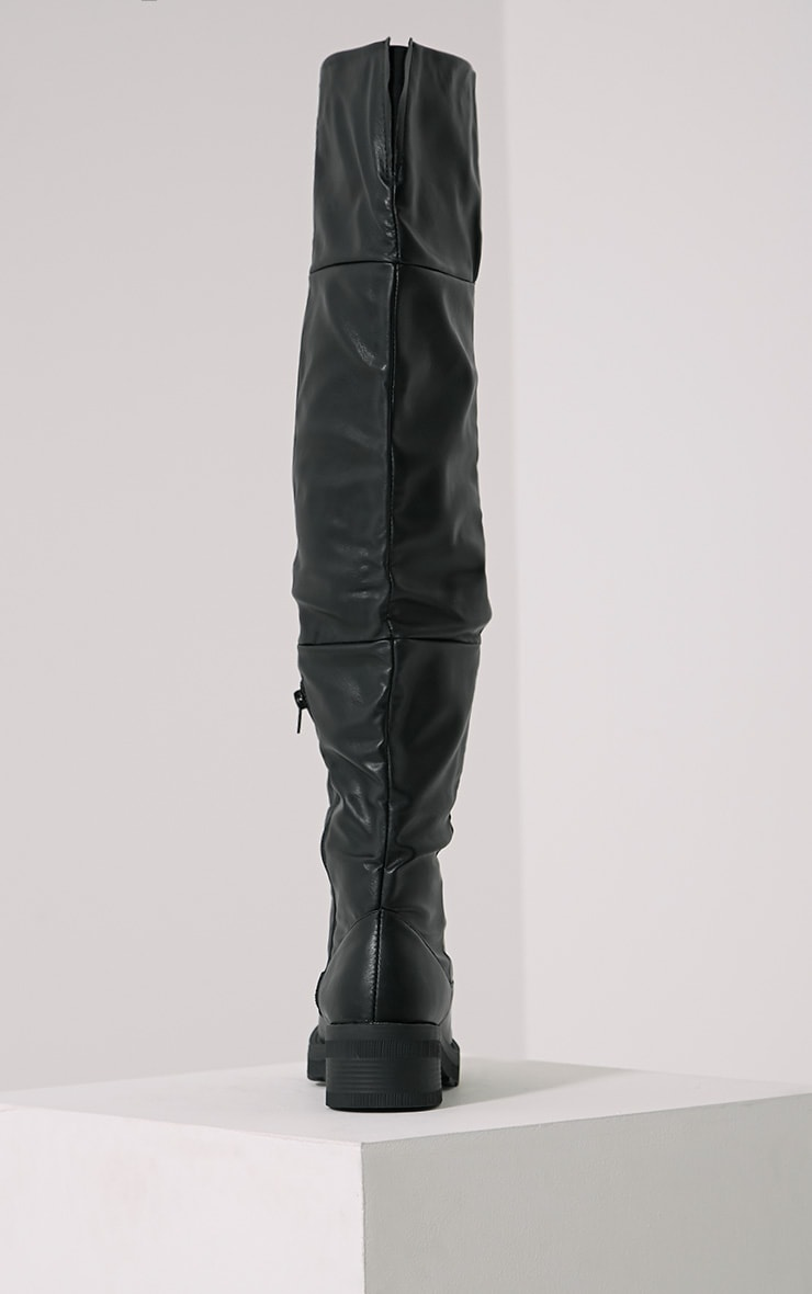 Varley Black Faux Leather Thigh High Flat Boots 5