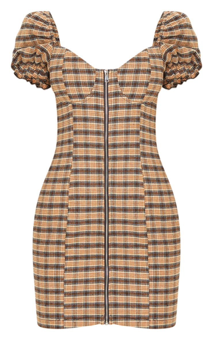 Beige Check Puff Sleeve Zip Front Shift Dress 3