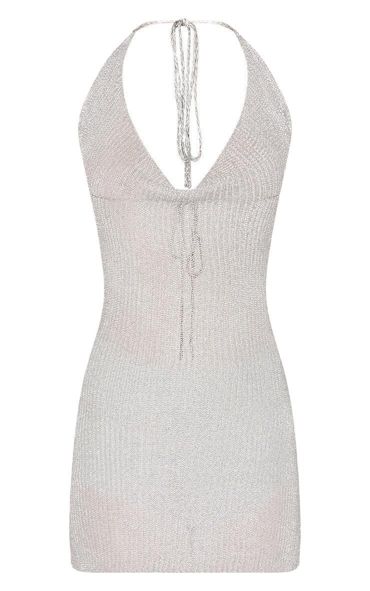 Jaz Silver Metallic Knit  Cowl Neck Mini Dress 3