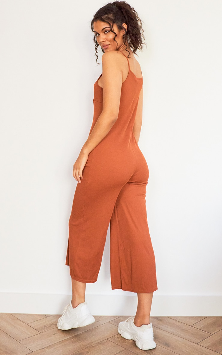 Rust Rib Wide Leg Culotte Jumpsuit 2