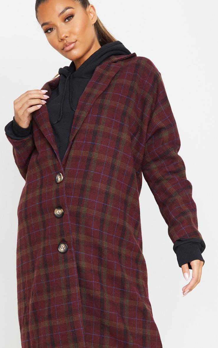Burgundy Boyfriend Oversized Midi Coat 5