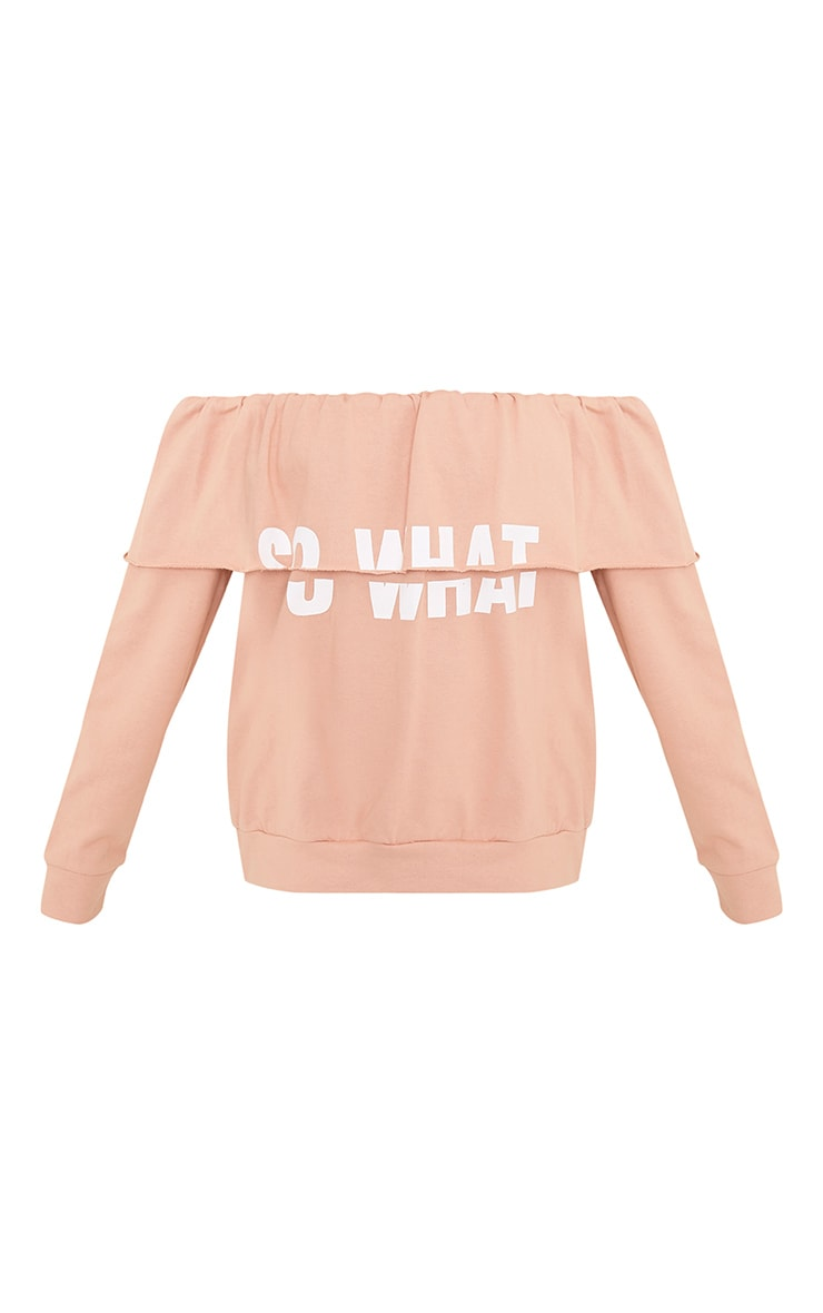 SO WHAT Slogan Dusty Coral Bardot Oversized Sweater 3