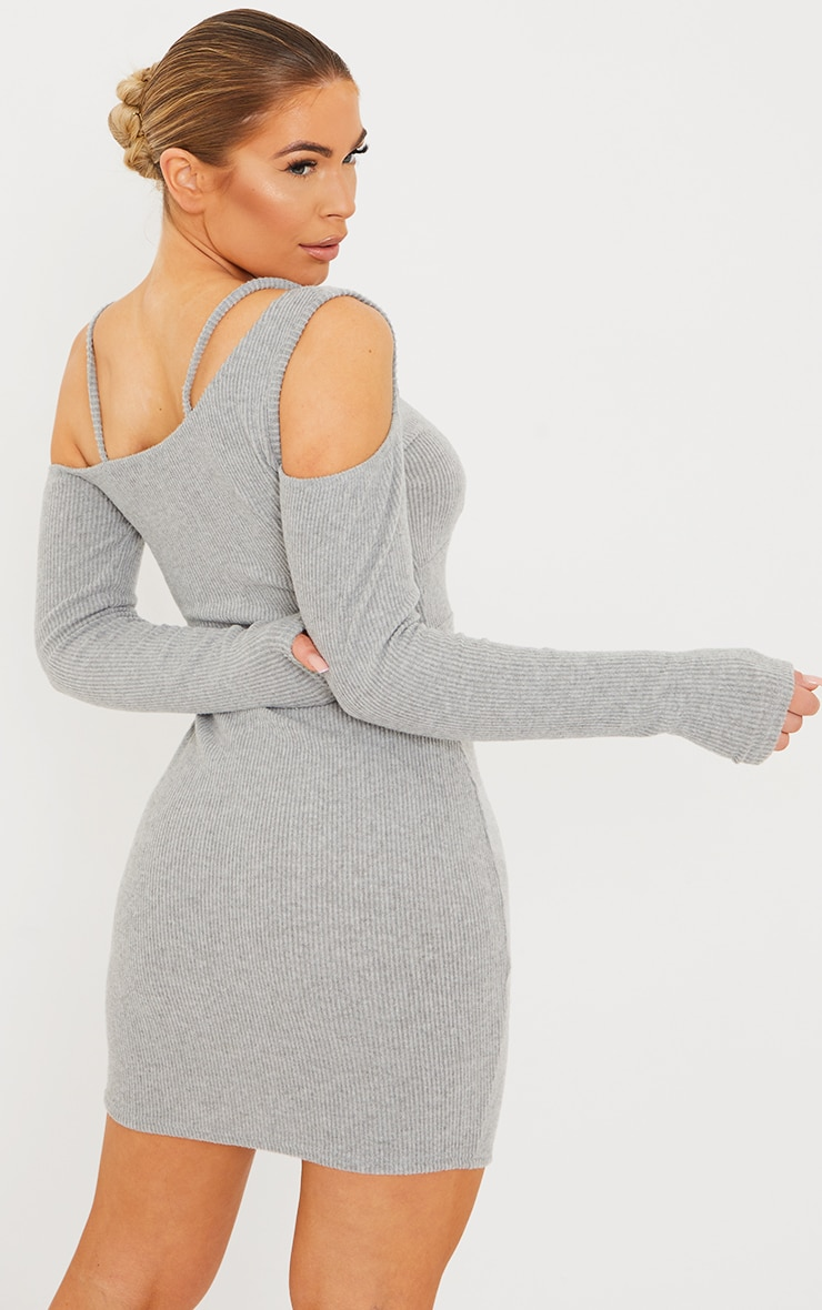 Grey Brushed Rib Cold Shoulder Strap Detail Bodycon Dress 2