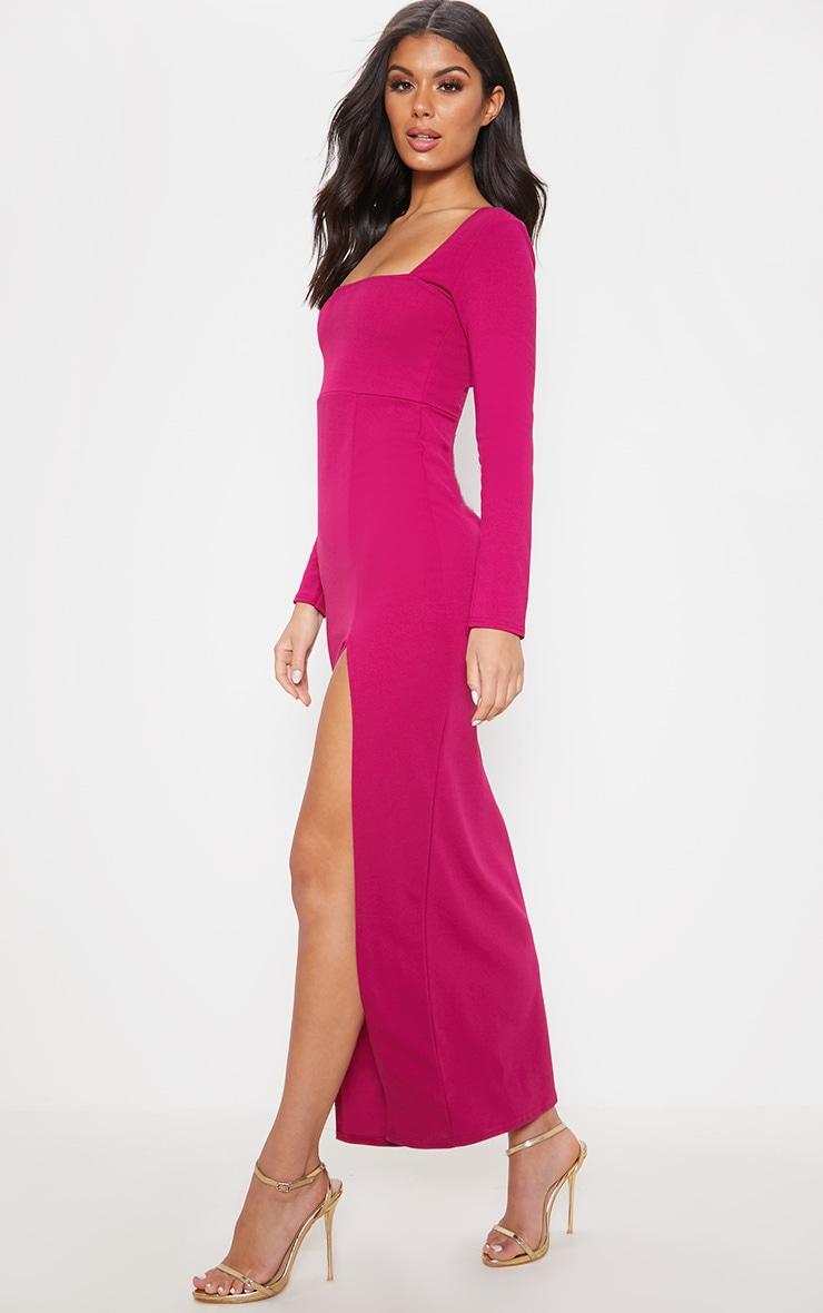 Hot Pink Square Neck Split Leg Maxi Dress 4