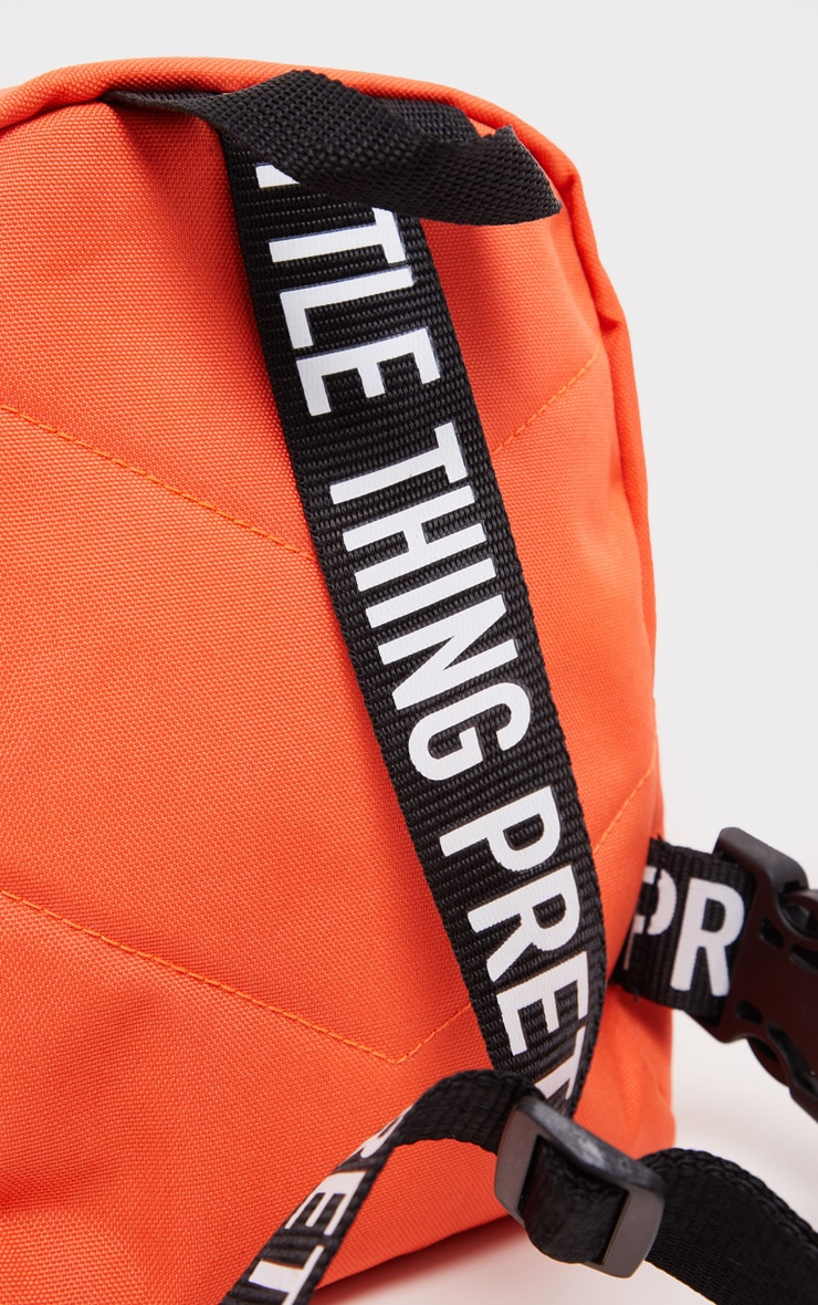 PRETTYLITTLETHING Neon Orange Nylon Front Rucksack 4