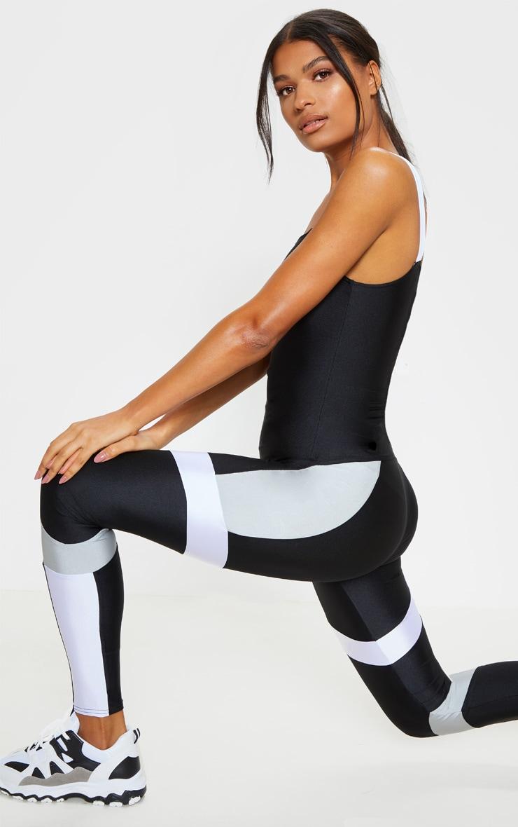 Black Mono Panel Gym Leggings 1