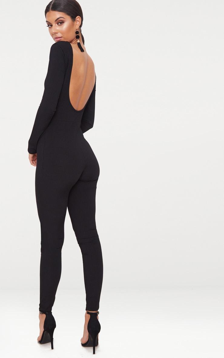 Black Ribbed Long Sleeve Scoop Back Jumpsuit 1