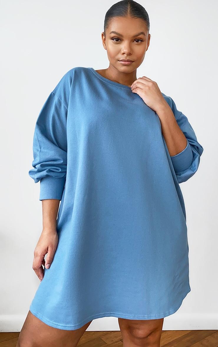 Plus Dusty Blue Oversized Sweatshirt Dress 1