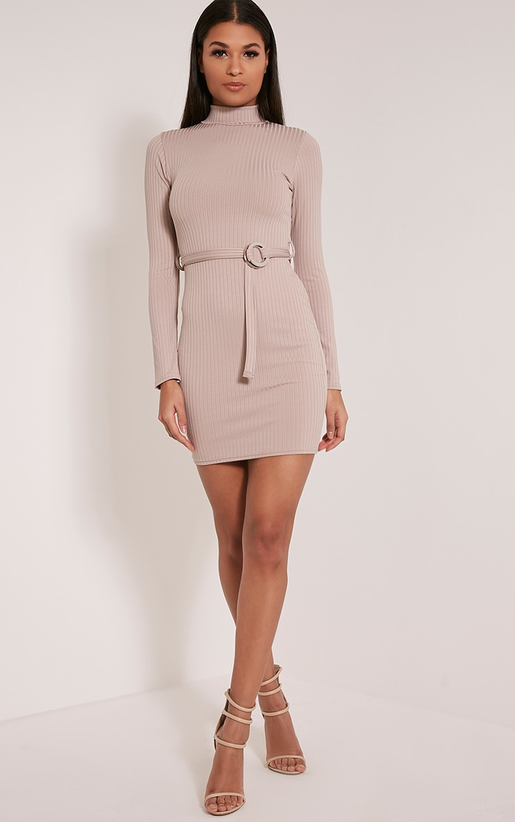 Mya Taupe Belt Detail Ribbed Bodycon Dress 5