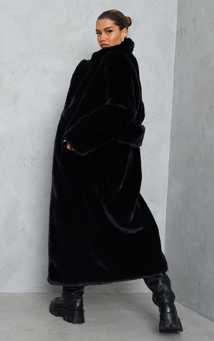 Black Premium Faux Fur Plush Military Maxi Coat 2