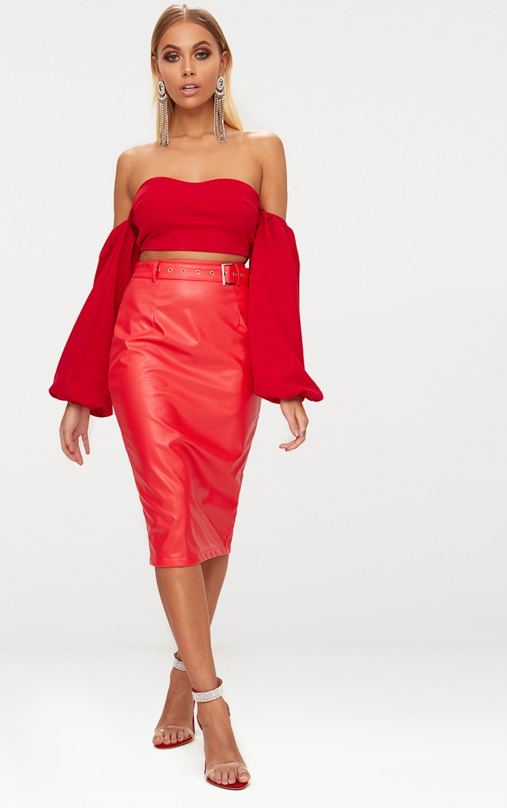 Red Faux Leather Belt Midi Skirt 1