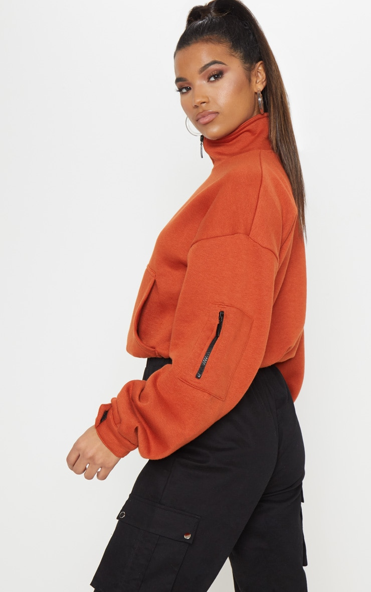 Rust Oversized Zip Front Sweater  2