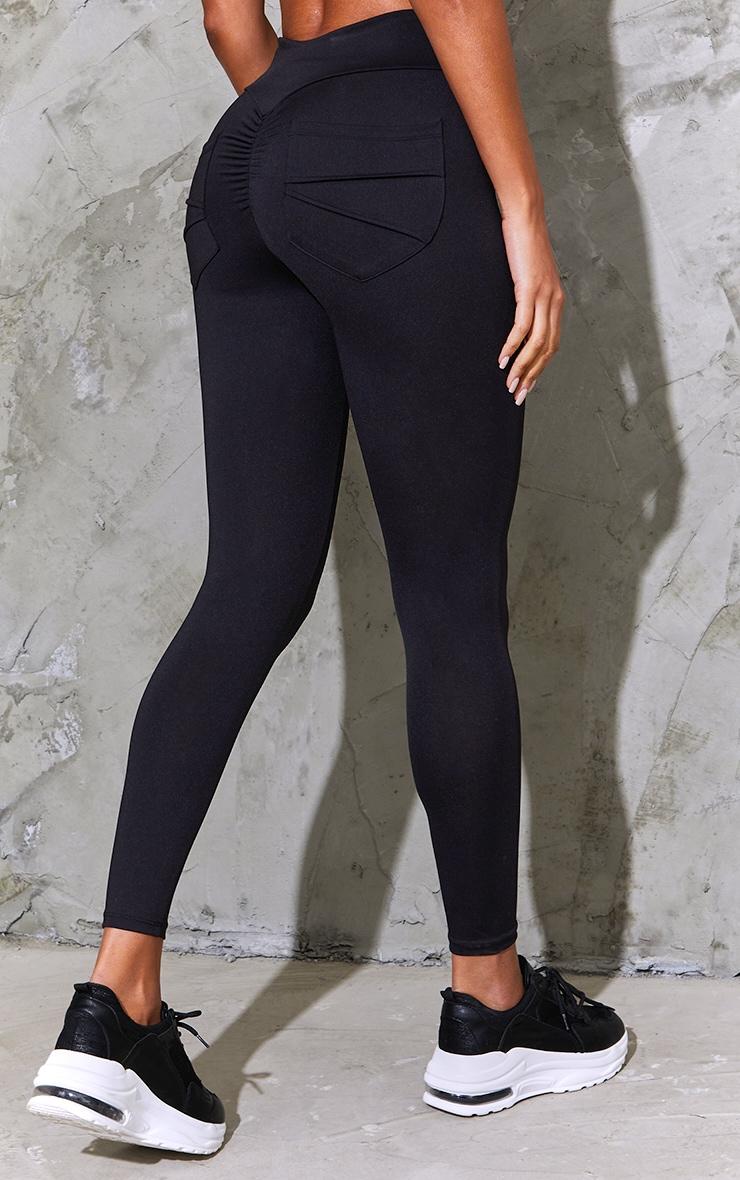 Black Ruched Pocket Bum Gym Legging 3