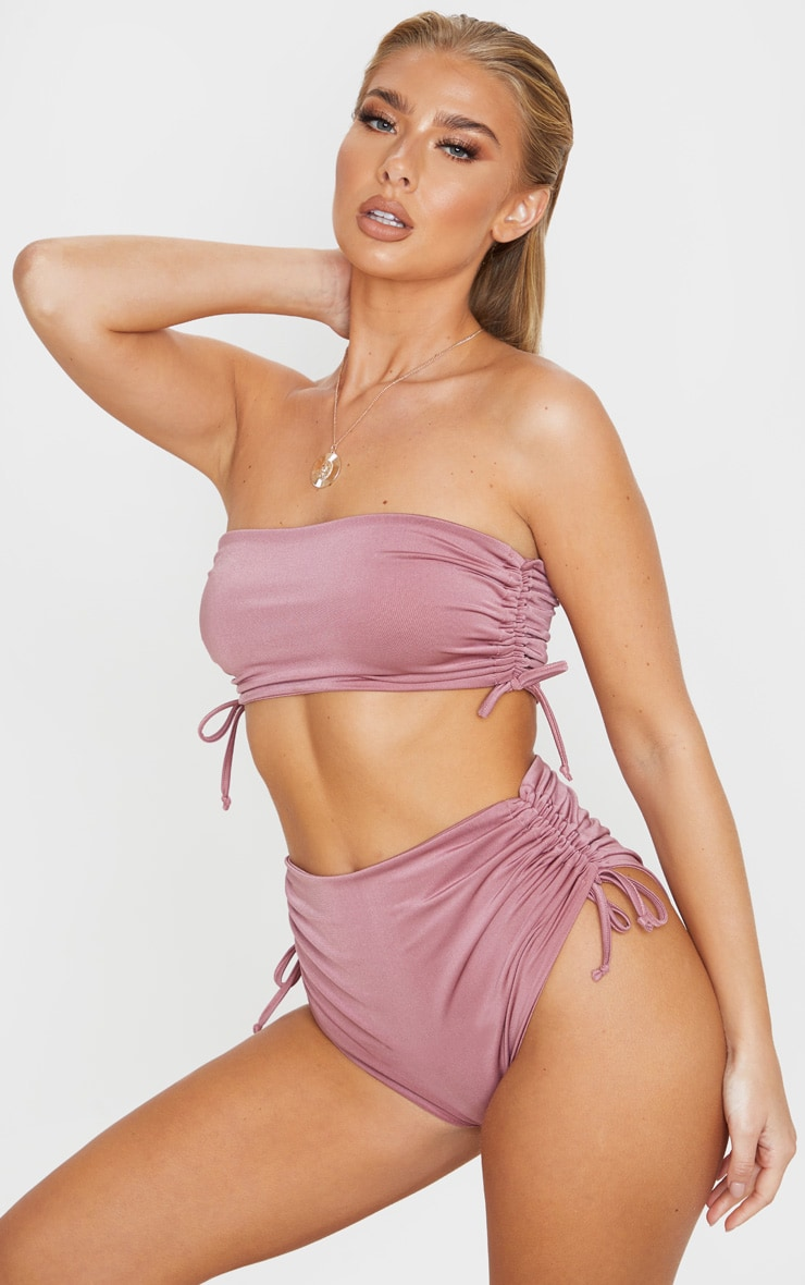 Mauve Ruched Side Bandeau Bikini Top 1