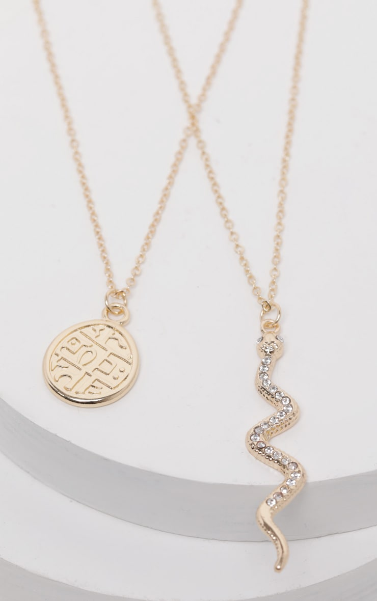 Diamante Snake And Penny Charm Layering Necklace 3