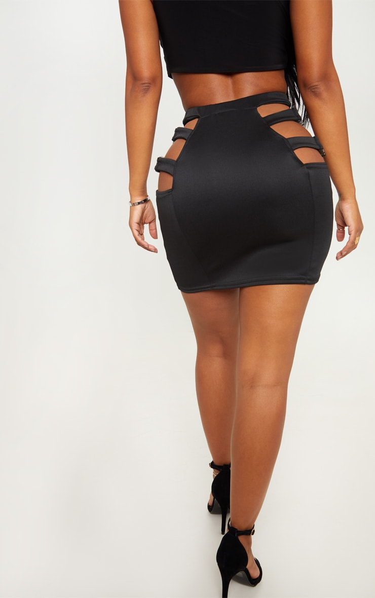 Shape Black Extreme Cut Out Buckle Detail Bodycon Skirt 3