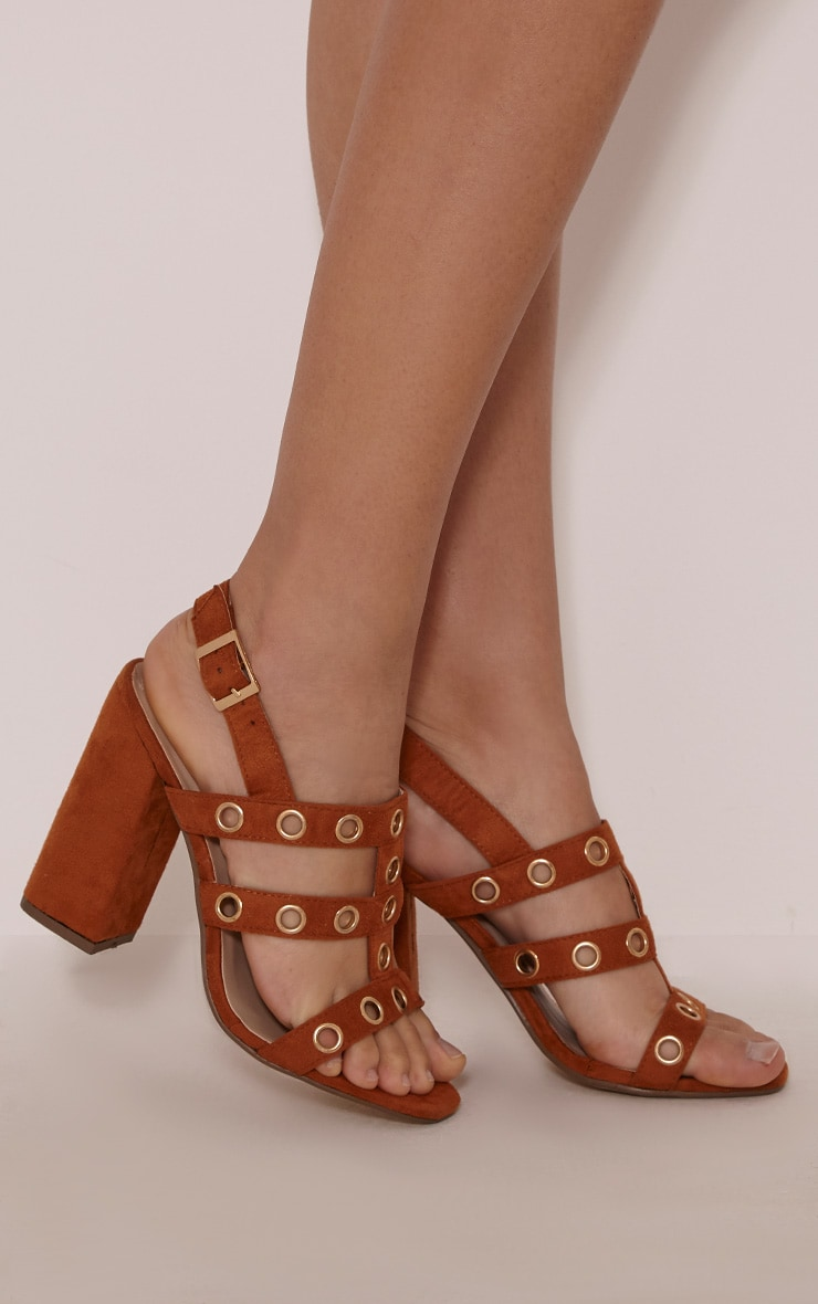 Ray Tan Faux Suede Eyelet Detail Heeled Sandals 2