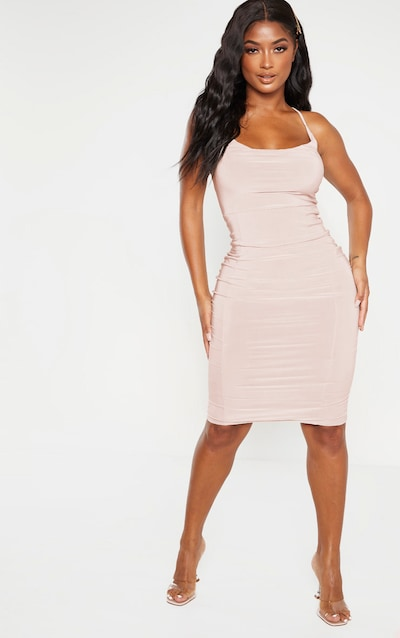 Shape Biscuit Slinky Cowl Neck Midi Dress
