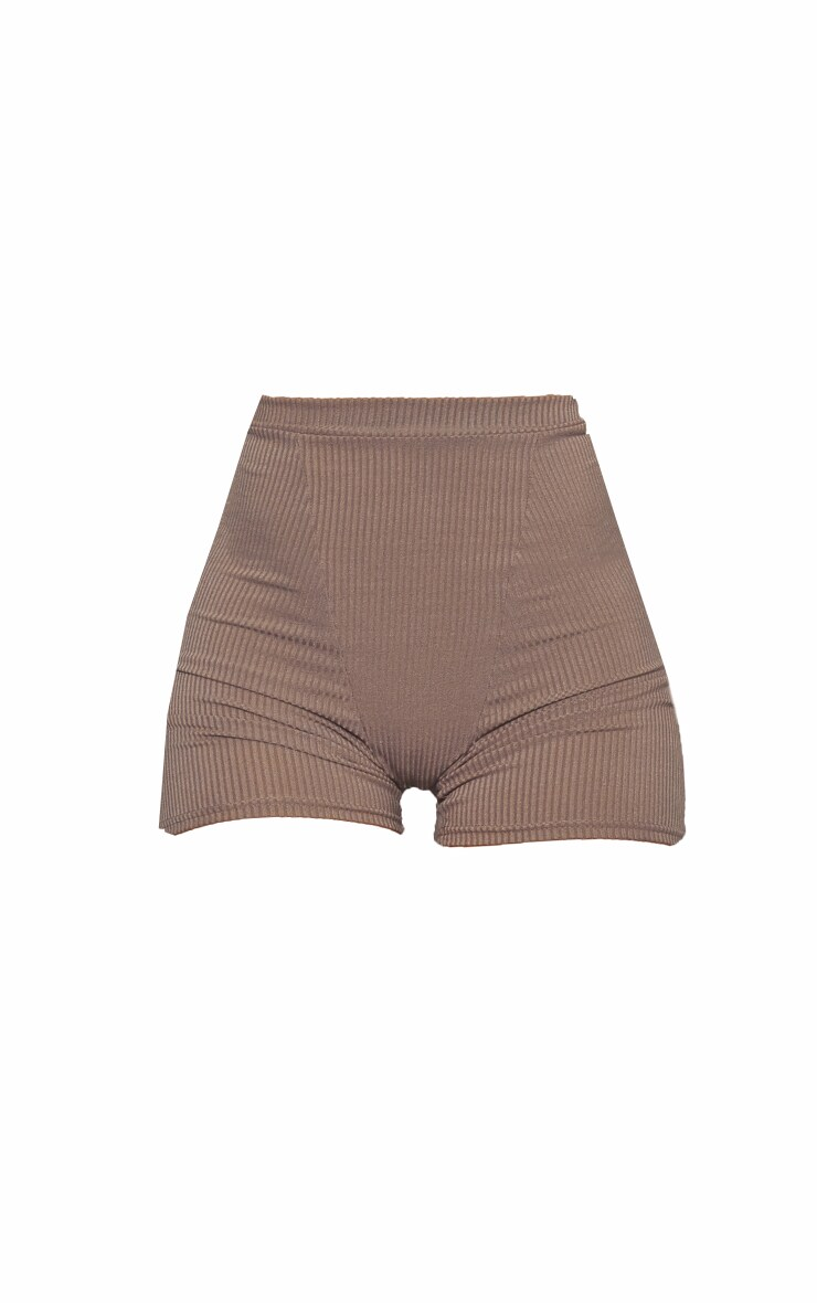 RENEW Khaki Heavy Rib Seam Detail Hotpants 5