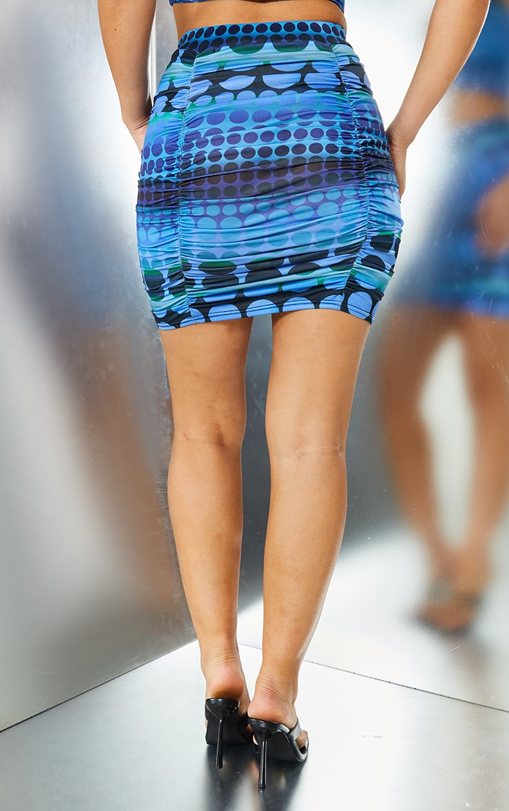 Bright Blue Swirl Print Slinky Ruched Mini Skirt 3
